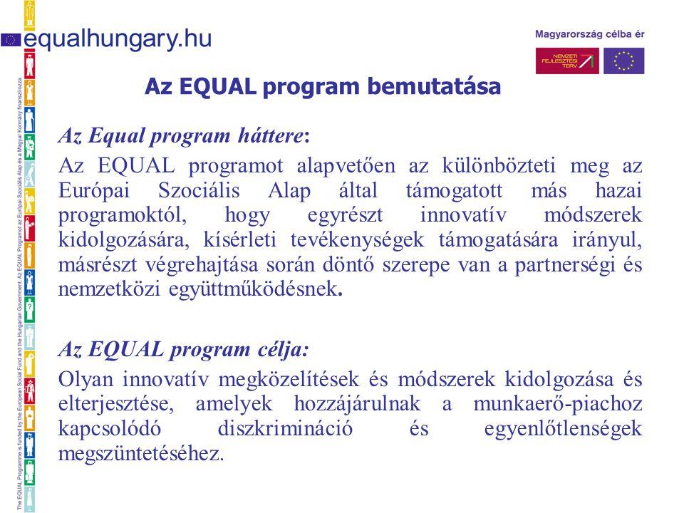 Az Equal program háttere: Az EQUAL programot alapvetően az különbözteti meg az Európai Szociális Alap által támogatott más hazai programoktól, hogy egyrészt innovatív módszerek kidolgozására, kísérleti tevékenységek támogatására irányul, másrészt végrehajtása során döntő szerepe van a partnerségi és nemzetközi együttműködésnek.