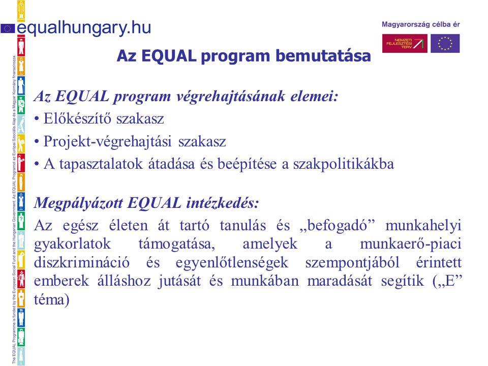"""Az EQUAL program végrehajtásának elemei: Előkészítő szakasz Projekt-végrehajtási szakasz A tapasztalatok átadása és beépítése a szakpolitikákba Megpályázott EQUAL intézkedés: Az egész életen át tartó tanulás és """"befogadó munkahelyi gyakorlatok támogatása, amelyek a munkaerő-piaci diszkrimináció és egyenlőtlenségek szempontjából érintett emberek álláshoz jutását és munkában maradását segítik (""""E téma)"""