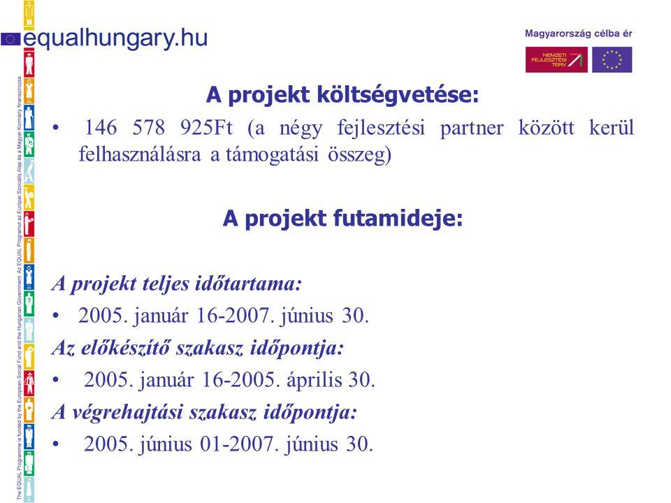 A projekt költségvetése: 146 578 925Ft (a négy fejlesztési partner között kerül felhasználásra a támogatási összeg) A projekt futamideje: A projekt teljes időtartama: 2005.