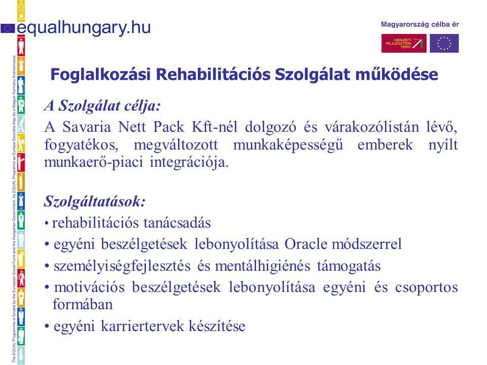 Foglalkozási Rehabilitációs Szolgálat működése A Szolgálat célja: A Savaria Nett Pack Kft-nél dolgozó és várakozólistán lévő, fogyatékos, megváltozott munkaképességű emberek nyílt munkaerő-piaci integrációja.