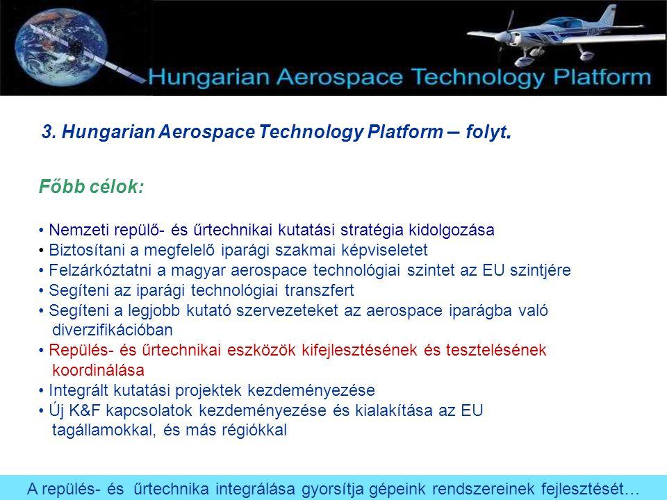 3. Hungarian Aerospace Technology Platform – folyt. Főbb célok: Nemzeti repülő- és űrtechnikai kutatási stratégia kidolgozása Biztosítani a megfelelő