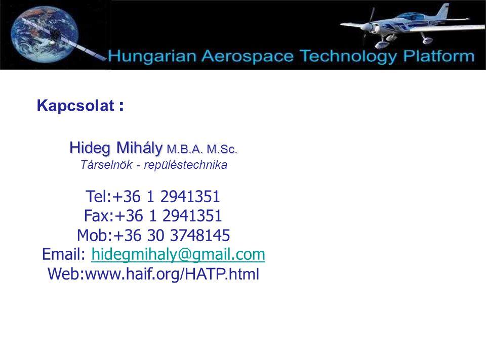 Kapcsolat : Hideg Mihály M.B.A. M.Sc. Társelnök - repüléstechnika Tel:+36 1 2941351 Fax:+36 1 2941351 Mob:+36 30 3748145 Email: hidegmihaly@gmail.comh