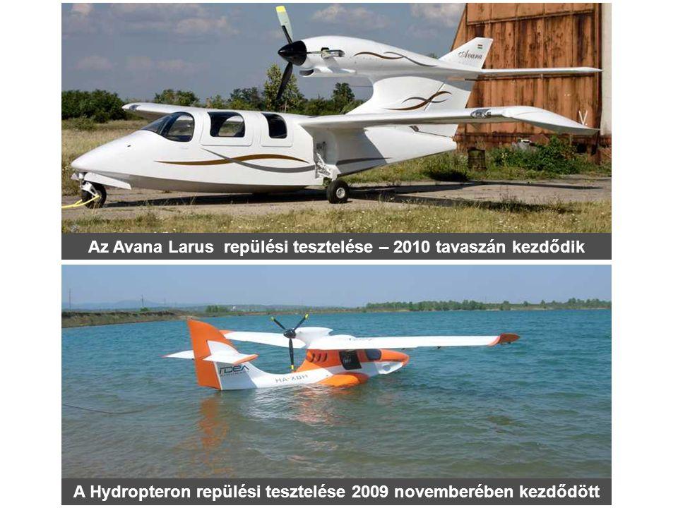 A Hydropteron repülési tesztelése 2009 novemberében kezdődött Az Avana Larus repülési tesztelése – 2010 tavaszán kezdődik