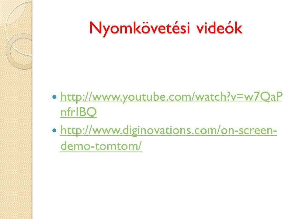 Nyomkövetési videók http://www.youtube.com/watch?v=w7QaP nfrIBQ http://www.youtube.com/watch?v=w7QaP nfrIBQ http://www.diginovations.com/on-screen- de