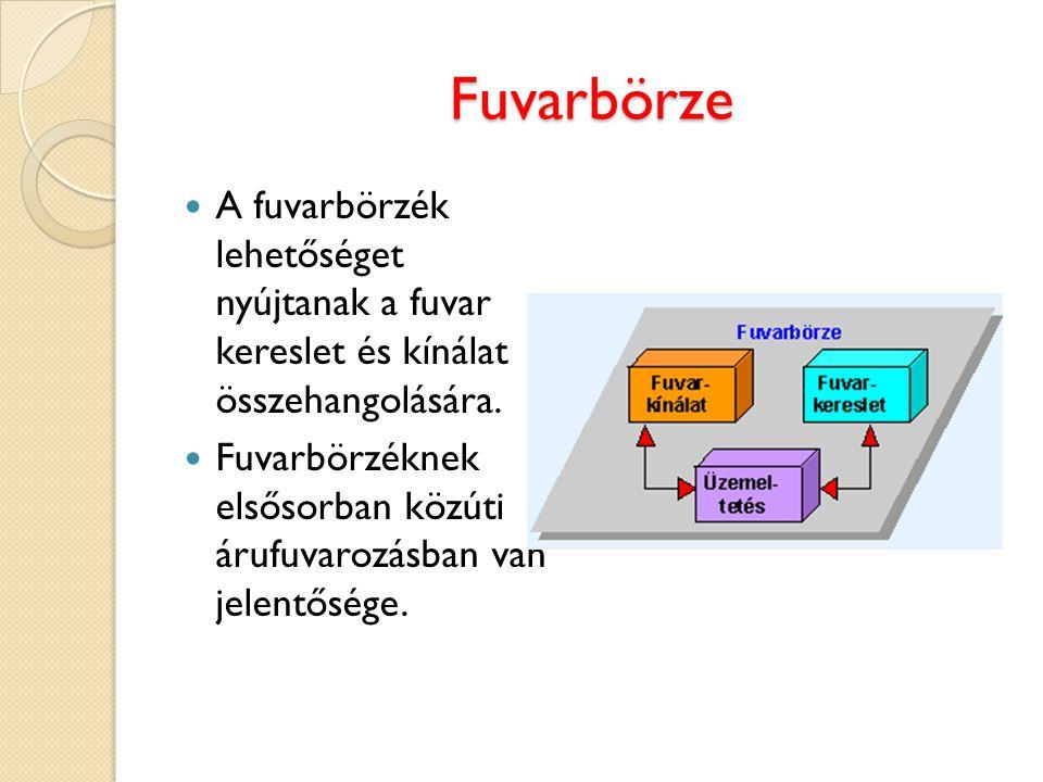 Fuvarbörze A fuvarbörzék lehetőséget nyújtanak a fuvar kereslet és kínálat összehangolására. Fuvarbörzéknek elsősorban közúti árufuvarozásban van jele