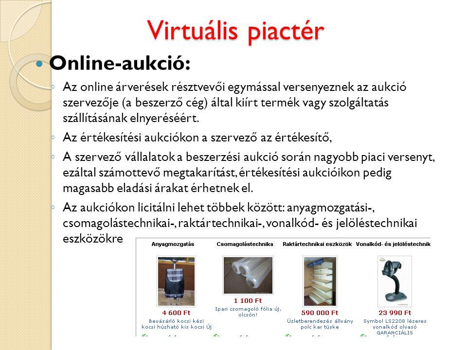 Virtuális piactér Online-aukció: ◦ Az online árverések résztvevői egymással versenyeznek az aukció szervezője (a beszerző cég) által kiírt termék vagy
