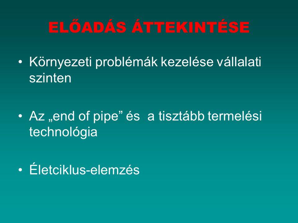 """Környezeti problémák kezelése vállalati szinten Az """"end of pipe"""" és a tisztább termelési technológia Életciklus-elemzés ELŐADÁS ÁTTEKINTÉSE"""