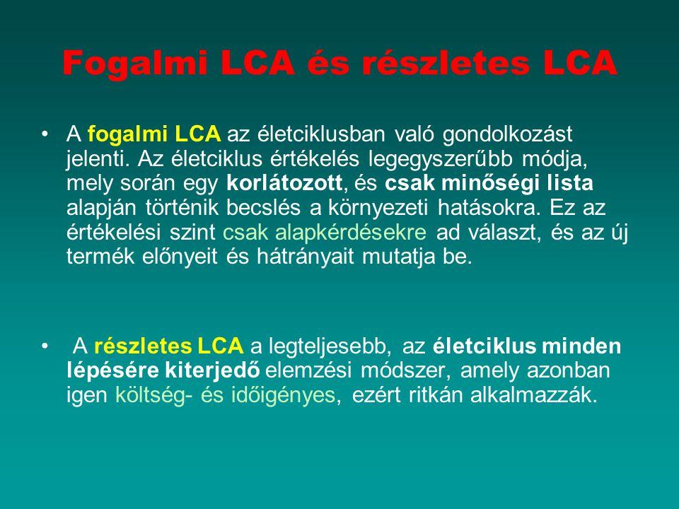 Fogalmi LCA és részletes LCA A fogalmi LCA az életciklusban való gondolkozást jelenti. Az életciklus értékelés legegyszerűbb módja, mely során egy kor