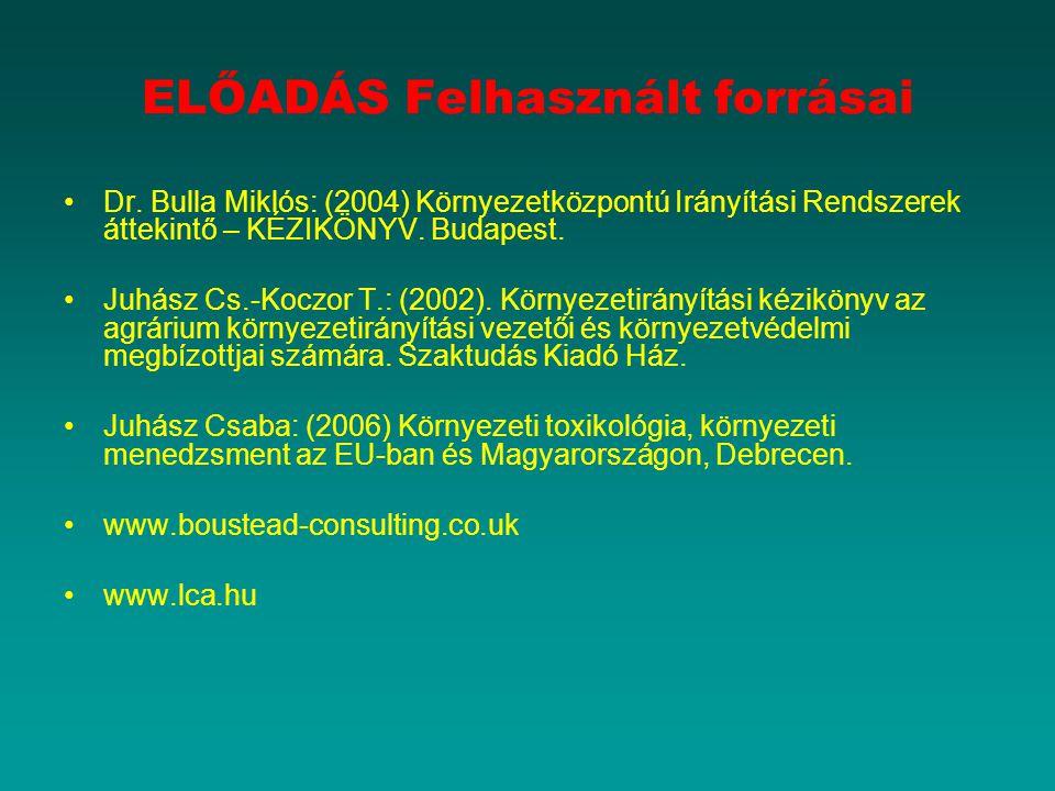 ELŐADÁS Felhasznált forrásai Dr. Bulla Miklós: (2004) Környezetközpontú Irányítási Rendszerek áttekintő – KÉZIKÖNYV. Budapest. Juhász Cs.-Koczor T.: (