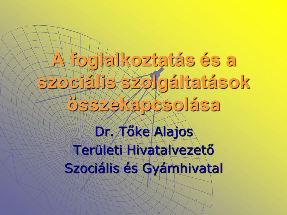 A foglalkoztatás és a szociális szolgáltatások összekapcsolása Dr. Tőke Alajos Területi Hivatalvezető Szociális és Gyámhivatal