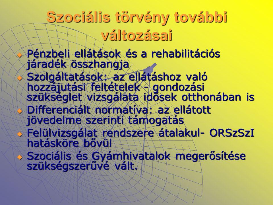 Szociális törvény további változásai  Pénzbeli ellátások és a rehabilitációs járadék összhangja  Szolgáltatások: az ellátáshoz való hozzájutási felt