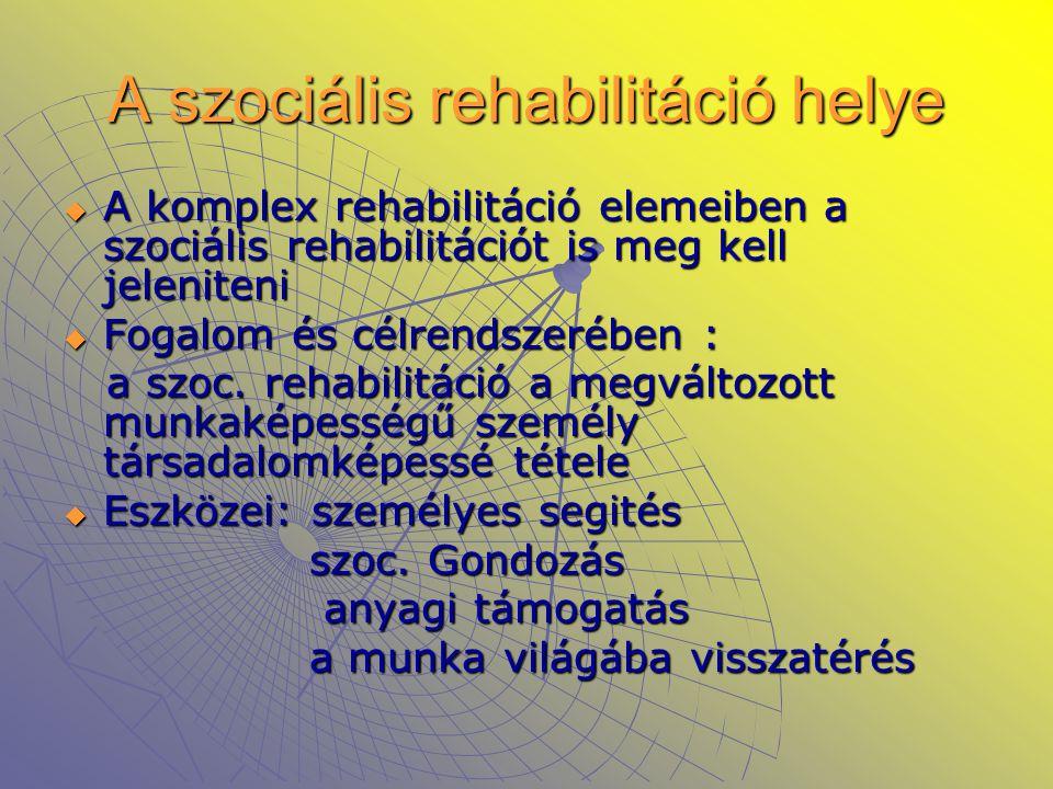 A szociális rehabilitáció helye  A komplex rehabilitáció elemeiben a szociális rehabilitációt is meg kell jeleniteni  Fogalom és célrendszerében : a