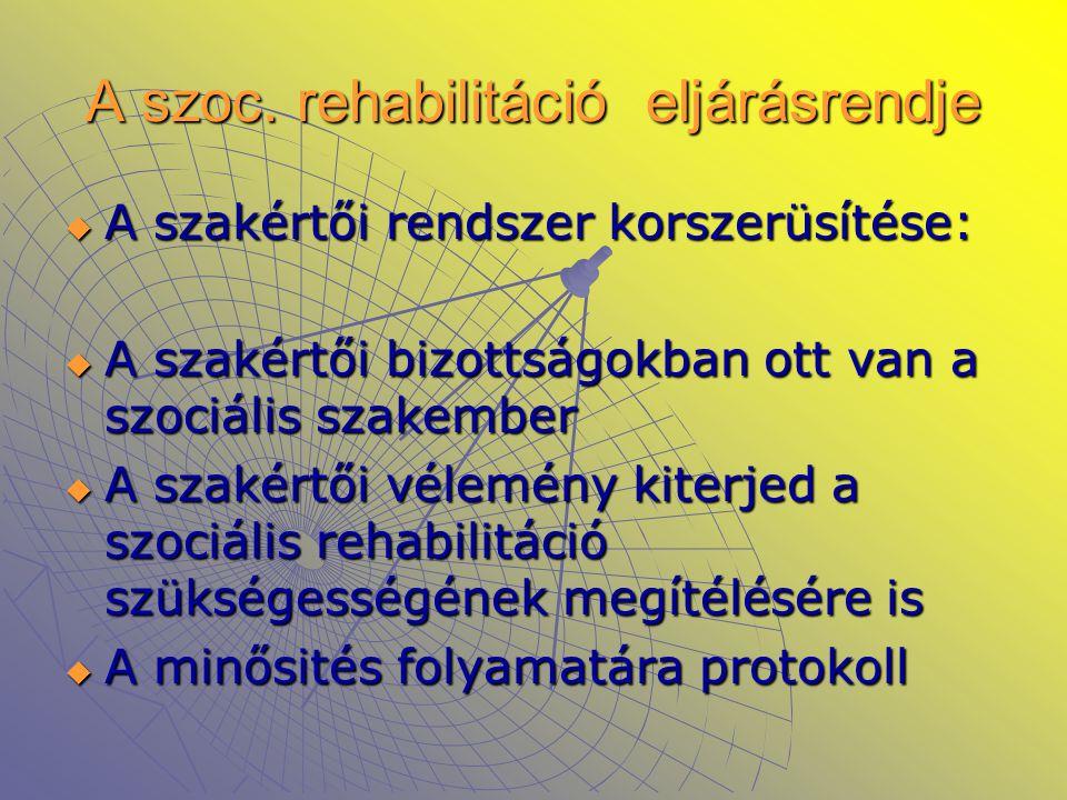 A szoc. rehabilitáció eljárásrendje  A szakértői rendszer korszerüsítése:  A szakértői bizottságokban ott van a szociális szakember  A szakértői vé