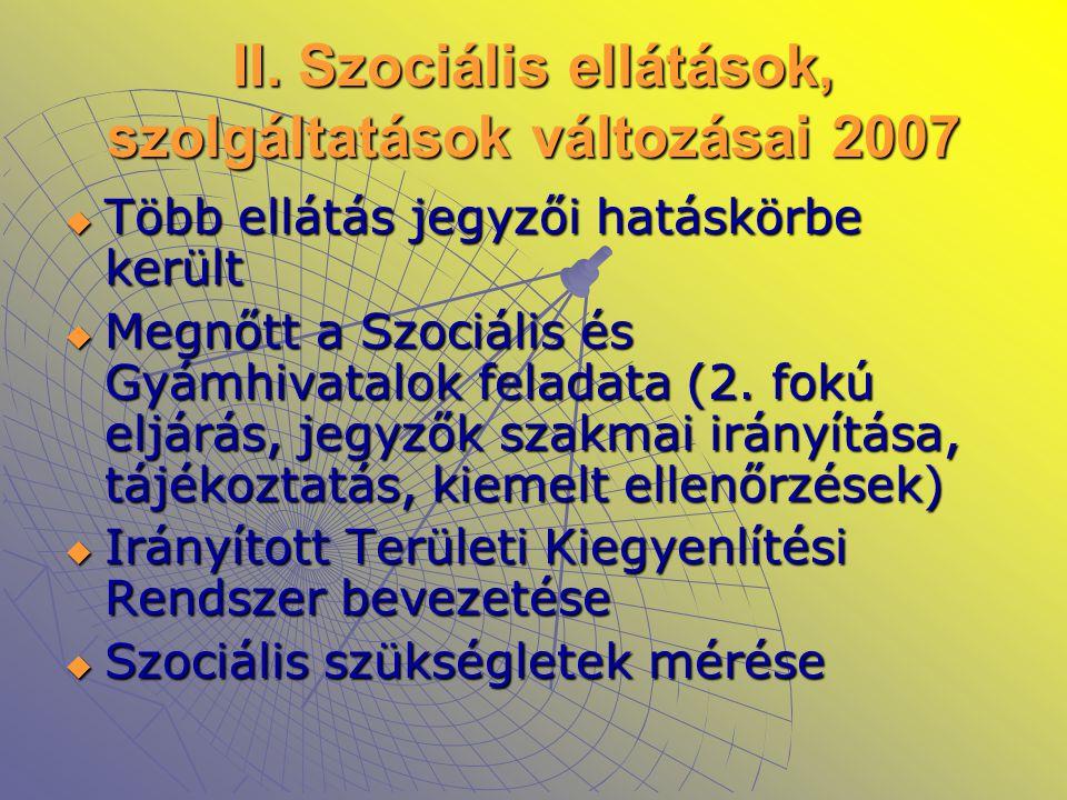 II. Szociális ellátások, szolgáltatások változásai 2007  Több ellátás jegyzői hatáskörbe került  Megnőtt a Szociális és Gyámhivatalok feladata (2. f