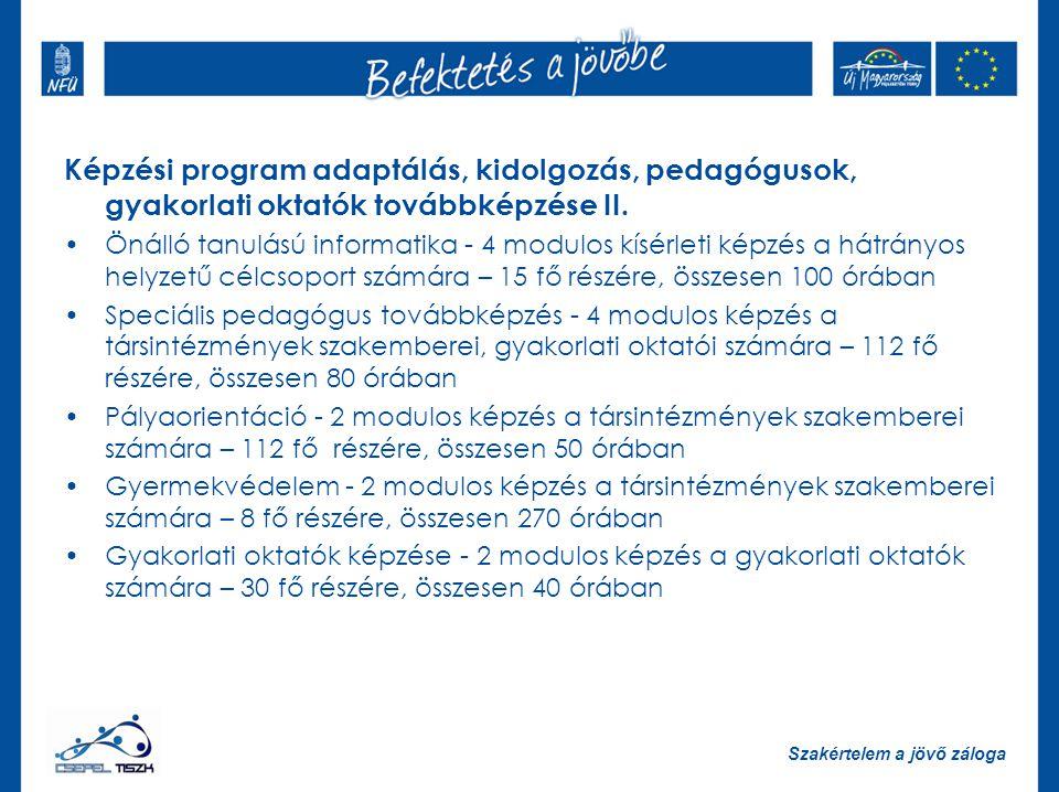 Szakértelem a jövő záloga Képzési program adaptálás, kidolgozás, pedagógusok, gyakorlati oktatók továbbképzése II.