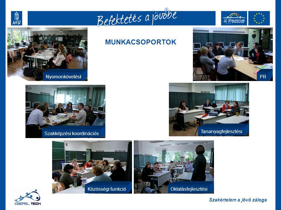MUNKACSOPORTOK Nyomonkövetési Szakképzési koordinációs Közösségi funkcióOktatásfejlesztési Tananyagfejlesztési PR