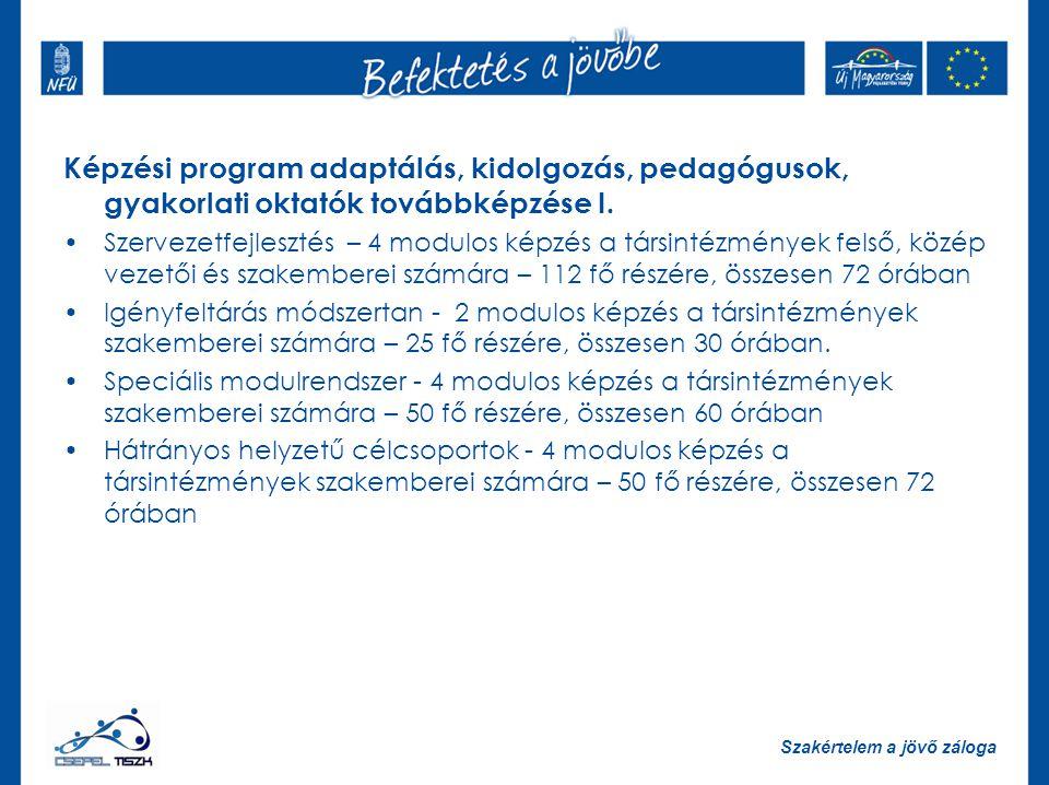 Szakértelem a jövő záloga Képzési program adaptálás, kidolgozás, pedagógusok, gyakorlati oktatók továbbképzése I.