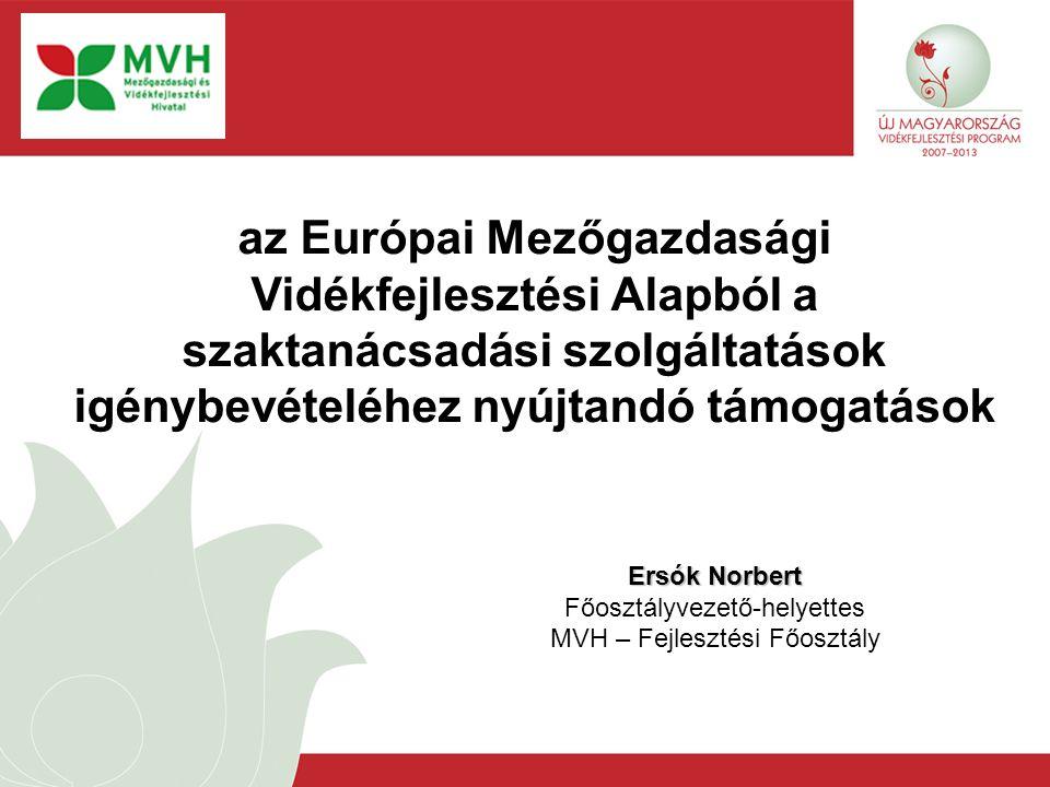 Ersók Norbert Főosztályvezető-helyettes MVH – Fejlesztési Főosztály az Európai Mezőgazdasági Vidékfejlesztési Alapból a szaktanácsadási szolgáltatások
