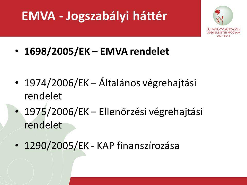 EMVA - Jogszabályi háttér 1698/2005/EK – EMVA rendelet 1974/2006/EK – Általános végrehajtási rendelet 1975/2006/EK – Ellenőrzési végrehajtási rendelet