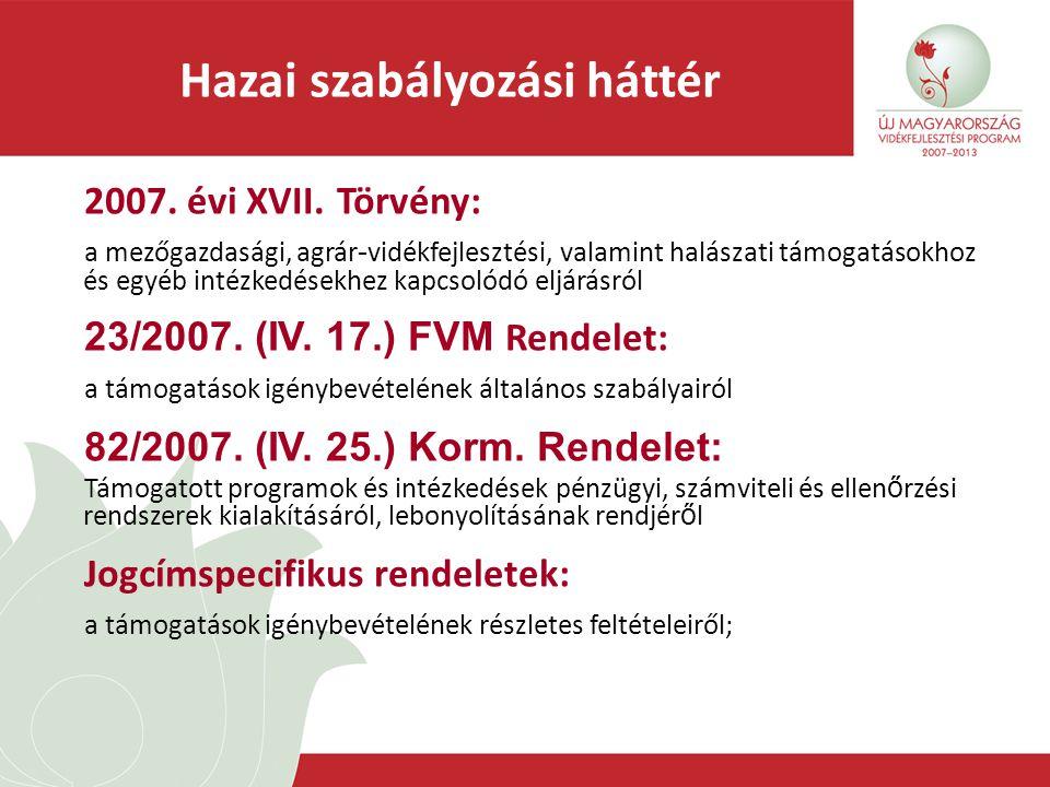 Hazai szabályozási háttér 2007. évi XVII. Törvény: a mezőgazdasági, agrár - vidékfejlesztési, valamint halászati támogatásokhoz és egyéb intézkedésekh