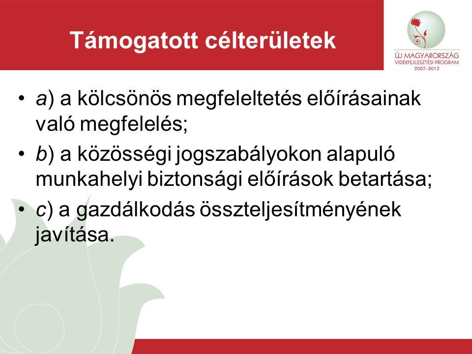 Támogatás igénybevétele Támogatásra jogosult: a) a mezőgazdasági termelő, Legalább 2 EUME b) az erdőgazdálkodó, Legalább 1 ha erdőterület c) a kertészeti termelő Legalább 1 EUME (kertészeti) Szakmai Szervezeti tagság (mentesség: NVT, UMVP határozat)