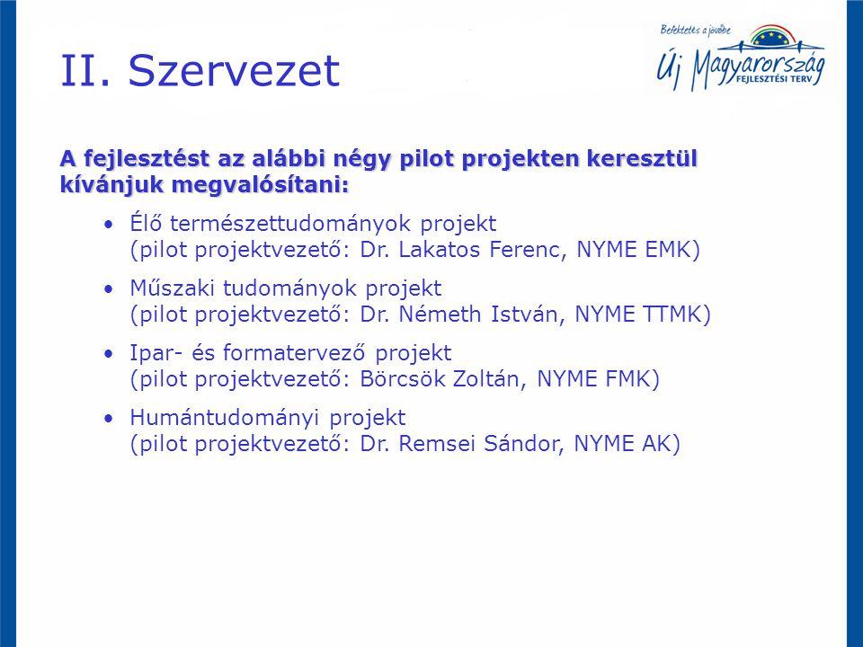 A fejlesztést az alábbi négy pilot projekten keresztül kívánjuk megvalósítani: Élő természettudományok projekt (pilot projektvezető: Dr.