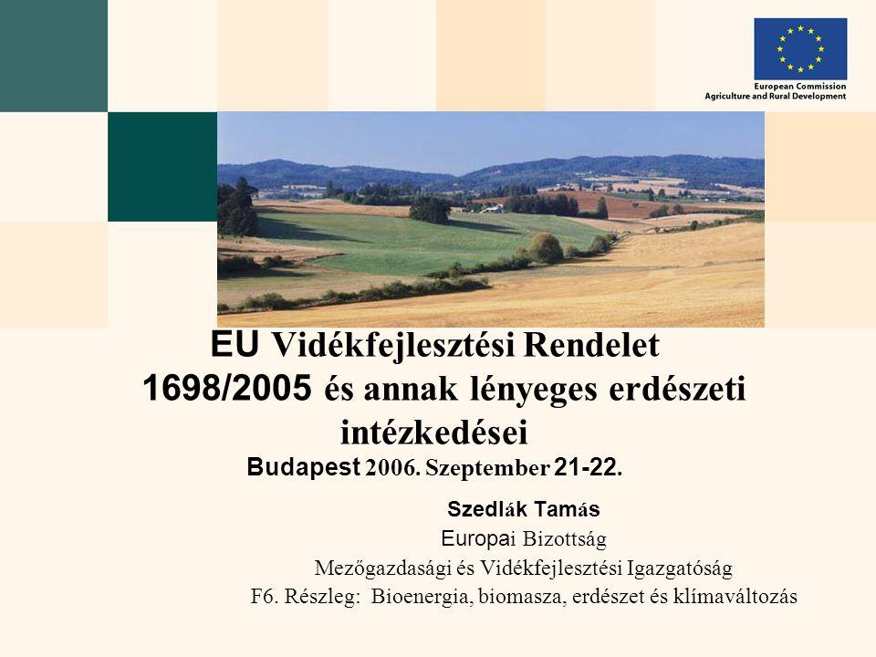 Szedl á k Tam á s Europa i Bizottság Mezőgazdasági és Vidékfejlesztési Igazgatóság F6. Részleg: Bioenergia, biomasza, erdészet és klímaváltozás EU Vid