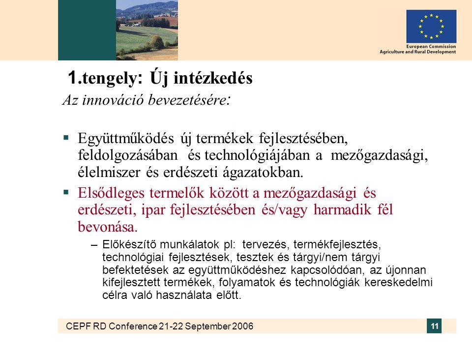 CEPF RD Conference 21-22 September 2006 11 1.tengely : Új intézkedés Az innováció bevezetésére :  Együttműködés új termékek fejlesztésében, feldolgozásában és technológiájában a mezőgazdasági, élelmiszer és erdészeti ágazatokban.