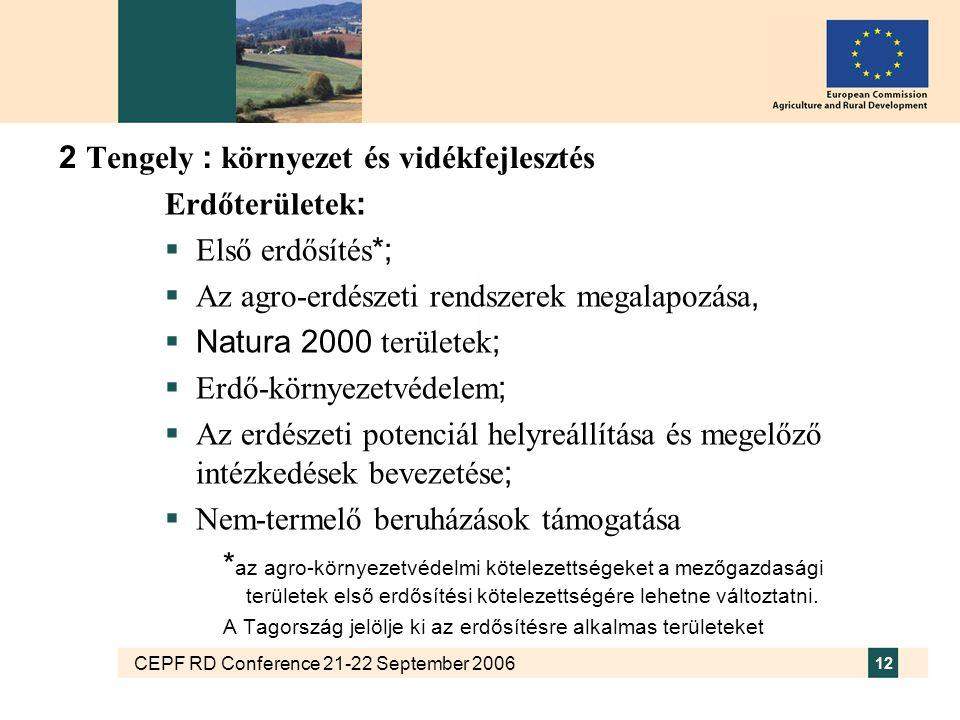 CEPF RD Conference 21-22 September 2006 12 2 Tengely : környezet és vidékfejlesztés Erdőterületek :  Első erdősítés *;  Az agro-erdészeti rendszerek megalapozása,  Natura 2000 területek ;  Erdő-környezetvédelem ;  Az erdészeti potenciál helyreállítása és megelőző intézkedések bevezetése ;  Nem-termelő beruházások támogatása * az agro-környezetvédelmi kötelezettségeket a mezőgazdasági területek első erdősítési kötelezettségére lehetne változtatni.