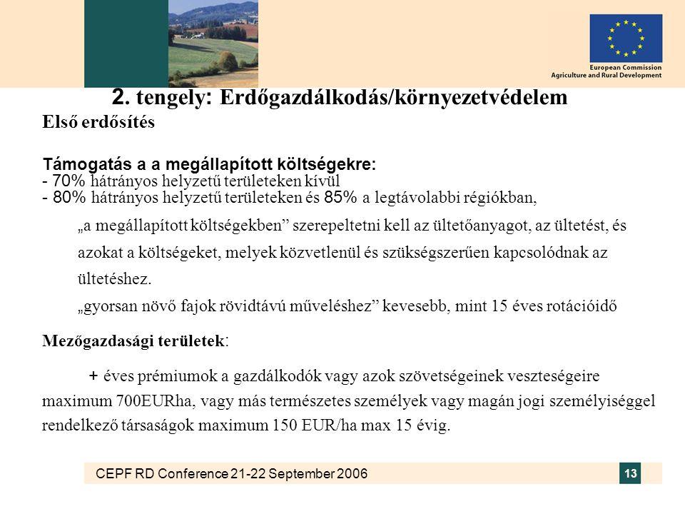 CEPF RD Conference 21-22 September 2006 13 2. tengely : Erdőgazdálkodás/környezetvédelem Első erdősítés Támogatás a a megállapított költségekre: - 70%