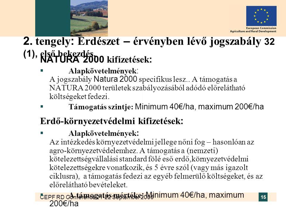 CEPF RD Conference 21-22 September 2006 15 2. tengely : Erdészet – érvényben lévő jogszabály 32 (1), első bekezdés. NATURA 2000 kifizetések :  Alapkö