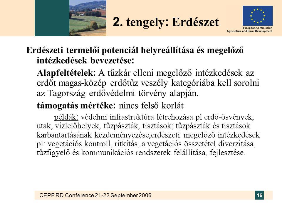 CEPF RD Conference 21-22 September 2006 16 Erdészeti termelői potenciál helyreállítása és megelőző intézkedések bevezetése : Alapfeltételek : A tűzkár elleni megelőző intézkedések az erdőt magas-közép erdőtűz veszély kategóriába kell sorolni az Tagország erdővédelmi törvény alapján.