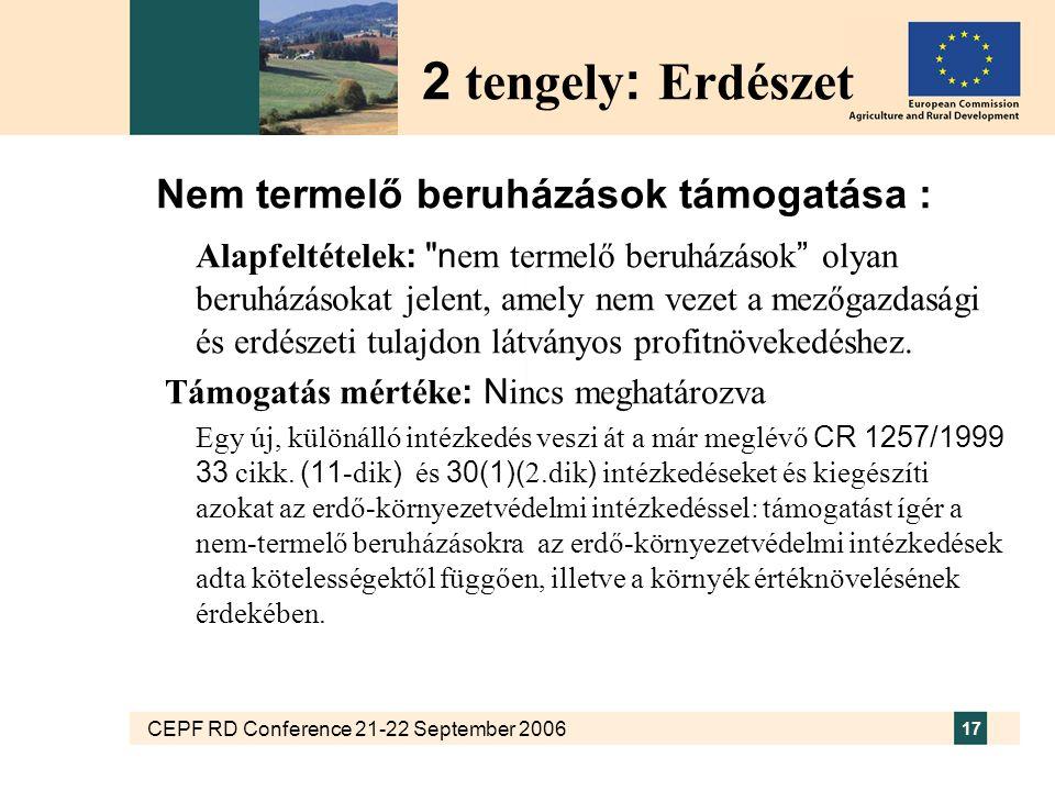 CEPF RD Conference 21-22 September 2006 17 Nem termelő beruházások támogatása : Alapfeltételek : n em termelő beruházások olyan beruházásokat jelent, amely nem vezet a mezőgazdasági és erdészeti tulajdon látványos profitnövekedéshez.