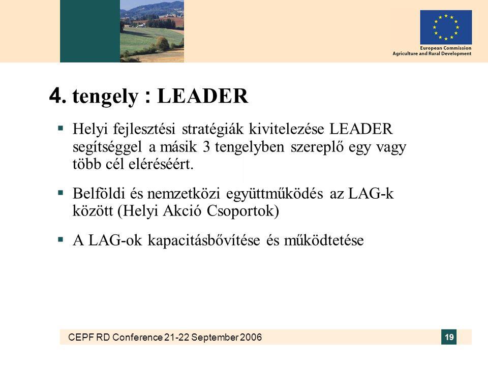 CEPF RD Conference 21-22 September 2006 19 4. tengely : LEADER  Helyi fejlesztési stratégiák kivitelezése LEADER segítséggel a másik 3 tengelyben sze