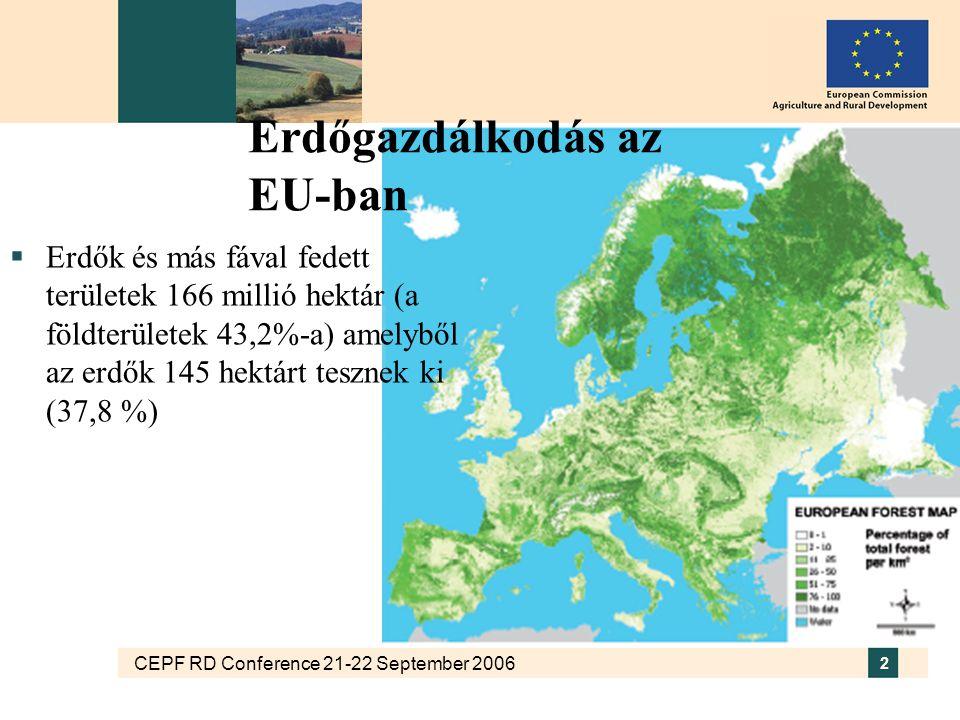 CEPF RD Conference 21-22 September 2006 2 Erdőgazdálkodás az EU-ban  Erdők és más fával fedett területek 166 millió hektár (a földterületek 43,2%-a) amelyből az erdők 145 hektárt tesznek ki (37,8 %)