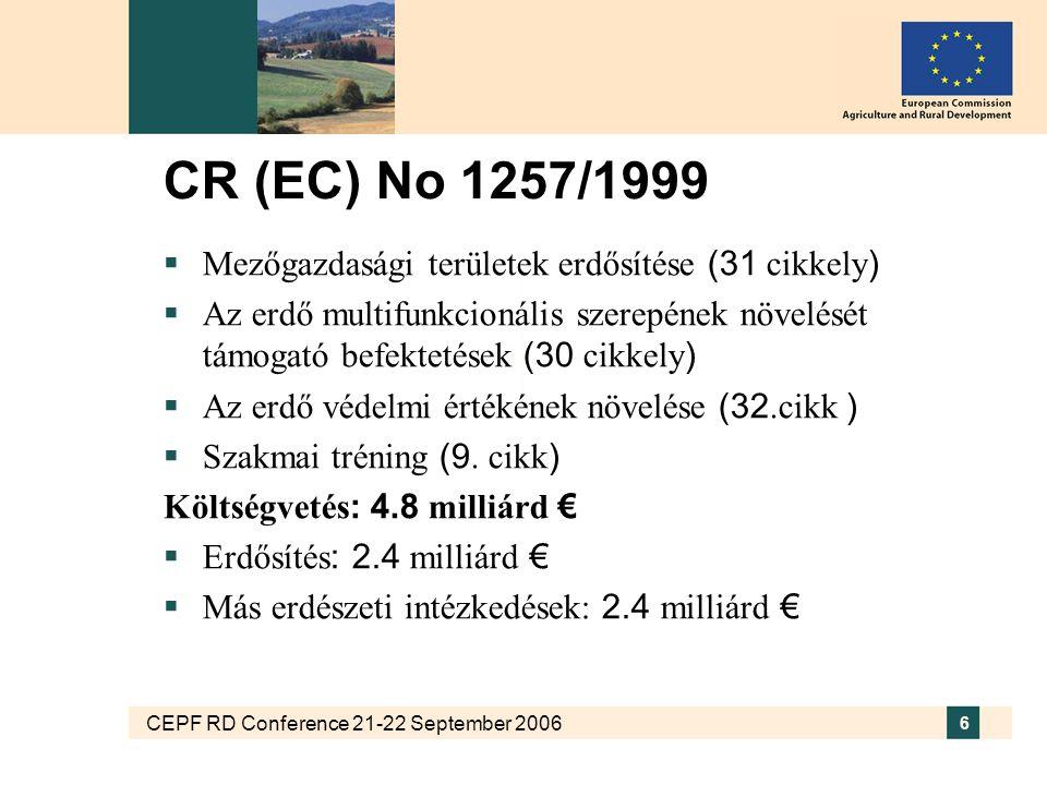 CEPF RD Conference 21-22 September 2006 6 CR (EC) No 1257/1999  Mezőgazdasági területek erdősítése (31 cikkely )  Az erdő multifunkcionális szerepének növelését támogató befektetések (30 cikkely )  Az erdő védelmi értékének növelése (32.cikk )  Szakmai tréning (9.