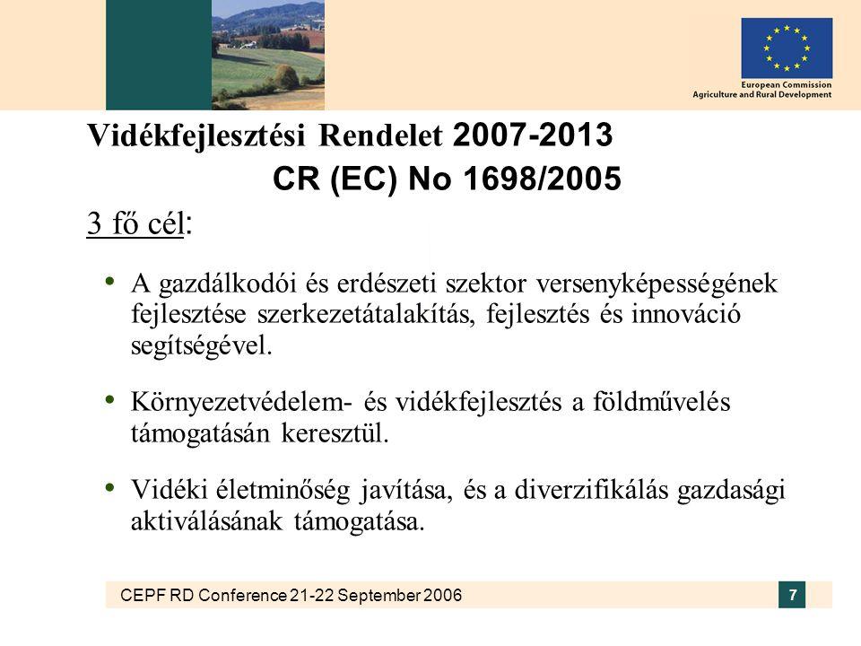 CEPF RD Conference 21-22 September 2006 7 Vidékfejlesztési Rendelet 2007-2013 CR (EC) No 1698/2005 3 fő cél : A gazdálkodói és erdészeti szektor versenyképességének fejlesztése szerkezetátalakítás, fejlesztés és innováció segítségével.