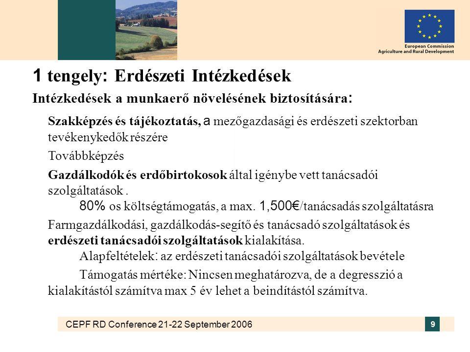 CEPF RD Conference 21-22 September 2006 9 1 tengely : Erdészeti Intézkedések Intézkedések a munkaerő növelésének biztosítására : Szakképzés és tájékoztatás, a mezőgazdasági és erdészeti szektorban tevékenykedők részére Továbbképzés Gazdálkodók és erdőbirtokosok által igénybe vett tanácsadói szolgáltatások.