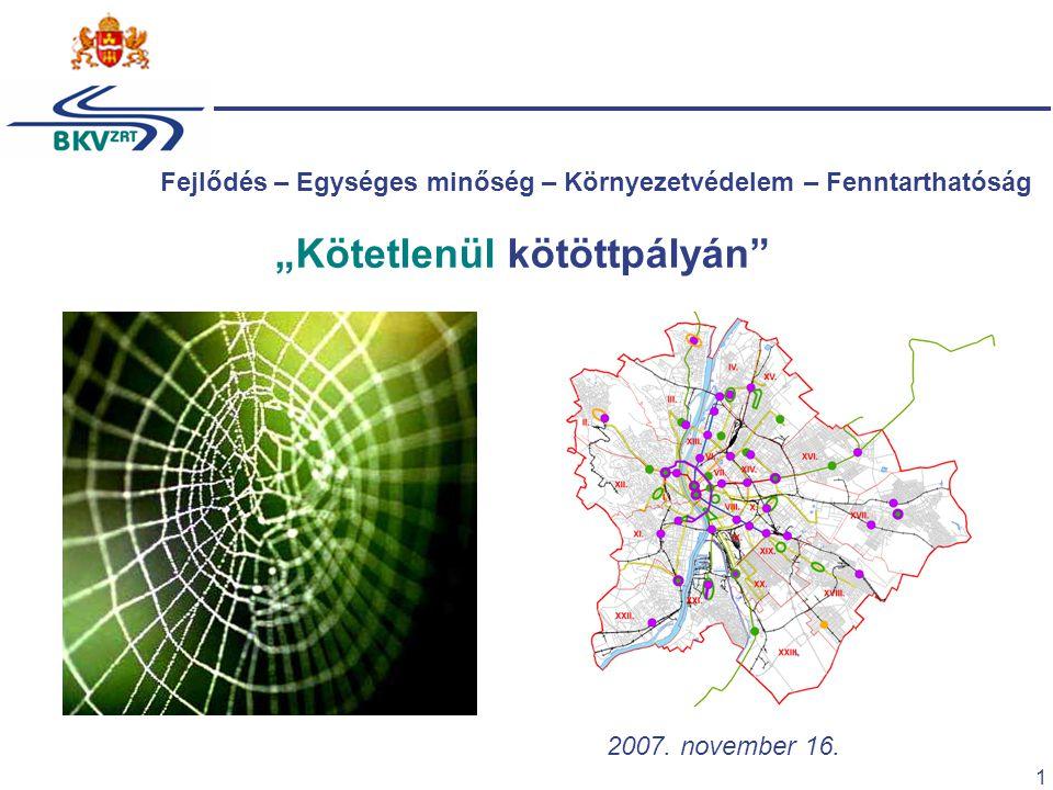 """1 2007. november 16. """"Kötetlenül kötöttpályán"""" Fejlődés – Egységes minőség – Környezetvédelem – Fenntarthatóság"""