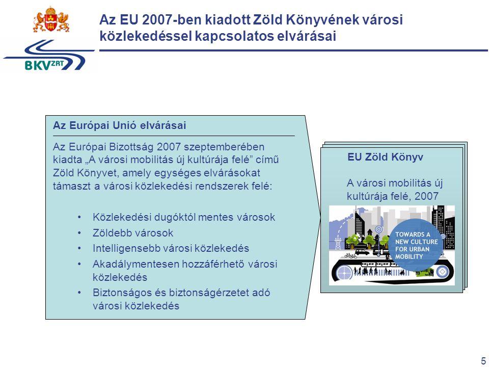 """5 Az EU 2007-ben kiadott Zöld Könyvének városi közlekedéssel kapcsolatos elvárásai EU Zöld Könyv A városi mobilitás új kultúrája felé, 2007 Az Európai Unió elvárásai Az Európai Bizottság 2007 szeptemberében kiadta """"A városi mobilitás új kultúrája felé című Zöld Könyvet, amely egységes elvárásokat támaszt a városi közlekedési rendszerek felé: Közlekedési dugóktól mentes városok Zöldebb városok Intelligensebb városi közlekedés Akadálymentesen hozzáférhető városi közlekedés Biztonságos és biztonságérzetet adó városi közlekedés"""