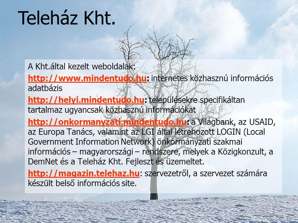 Így született meg a Teleház Kht (Csákberény), mely a Teleház Szövetség 100%-os tulajdonában lévő operatív szervezet: -felelős a hálózat- és a hálózati