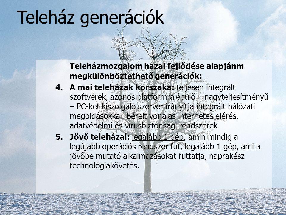 Teleházmozgalom hazai fejlődése alapján megkülönböztethető generációk: 1.Alapszintű felszereltség: 3-5 számítógéppel, faxszal, fénymásolóval, elektron