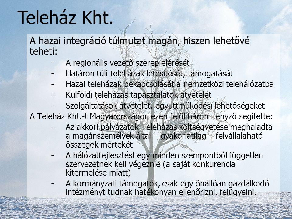 A hazai integráció túlmutat magán, hiszen lehetővé teheti: -A regionális vezető szerep elérését -Határon túli teleházak létesítését, támogatását -Hazai teleházak bekapcsolását a nemzetközi telehálózatba -Külföldi teleházas tapasztalatok átvételét -Szolgáltatások átvételét, együttműködési lehetőségeket A Teleház Kht.-t Magyarországon ezen felül három tényző segítette: -Az akkori pályázatok Teleházas költségvetése meghaladta a magánszemélyek által – gyakorlatilag – felvállalaható összegek mértékét -A hálózatfejlesztést egy minden szempontból független szervezetnek kell végeznie (a saját konkurencia kitermelése miatt) -A kormányzati támogatók, csak egy önállóan gazdálkodó intézményt tudnak hatékonyan ellenőrizni, felügyelni.