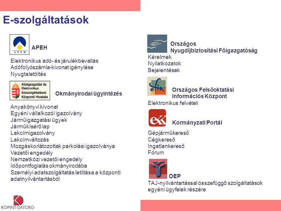 E-szolgáltatások APEH Elektronikus adó- és járulékbevallás Adófolyószámla-kivonat igénylése Nyugtaletöltés Okmányirodai ügyintézés Anyakönyvi kivonat