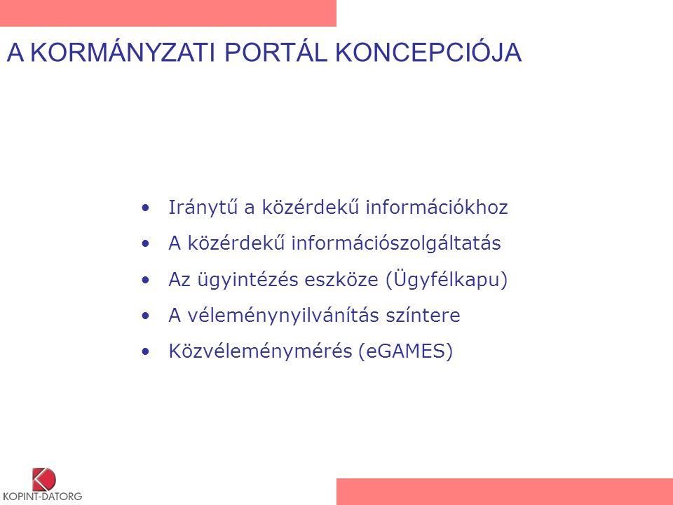 Iránytű a közérdekű információkhoz A közérdekű információszolgáltatás Az ügyintézés eszköze (Ügyfélkapu) A véleménynyilvánítás színtere Közvéleménymérés (eGAMES) A KORMÁNYZATI PORTÁL KONCEPCIÓJA