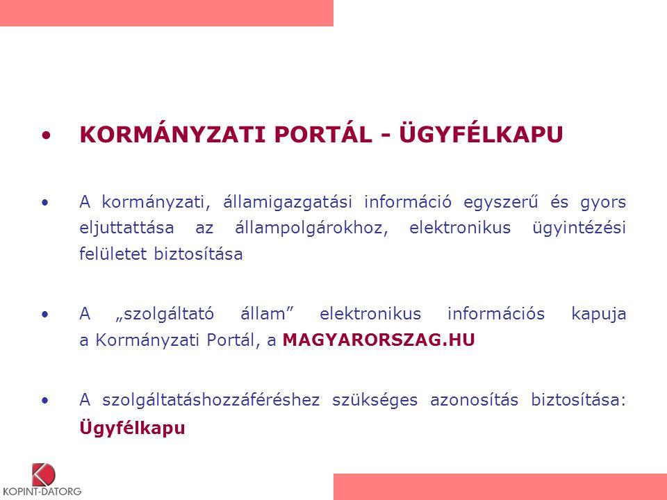 KORMÁNYZATI PORTÁL - ÜGYFÉLKAPU A kormányzati, államigazgatási információ egyszerű és gyors eljuttattása az állampolgárokhoz, elektronikus ügyintézési