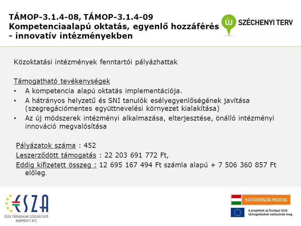 Támogatható tevékenységek: Új nemzetiségi oktatási programok kifejlesztése, már meglévő magyar nyelvű tartalmak fordítása, adaptációja a kisebbségi nyelvekre Kedvezményezettek száma: 7 db nyertes pályázat Leszerződött összeg: 238 348 810 Ft Kifizetett összeg: 83 454 071 Ft Pozitív tapasztalatok: A projektek a megfelelő ütemben haladnak, kevés problémával valósulnak meg.