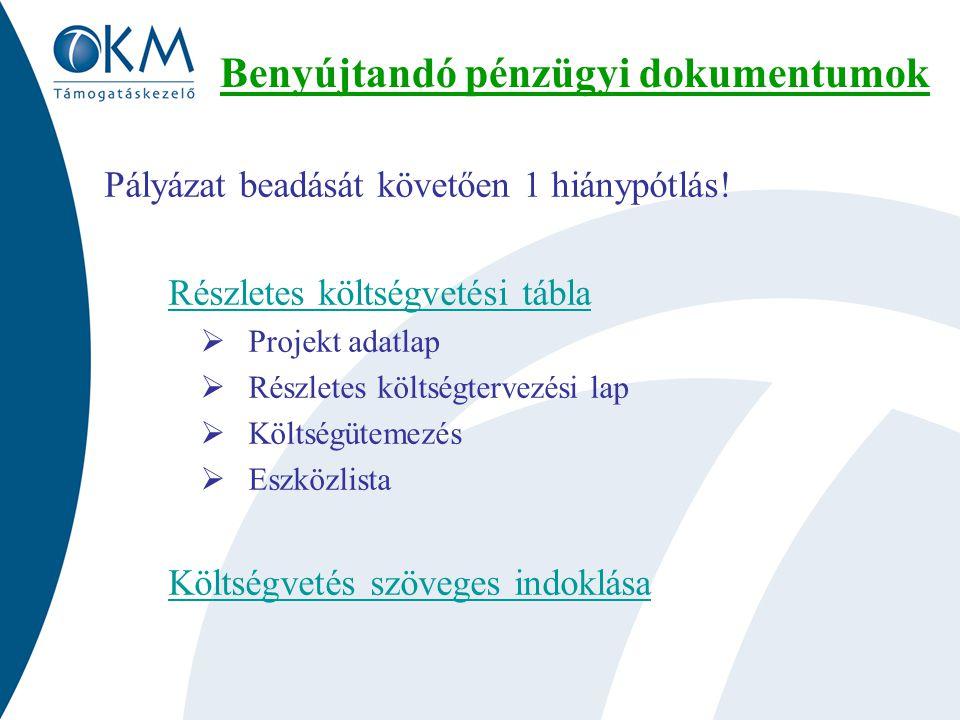 Benyújtandó pénzügyi dokumentumok Pályázat beadását követően 1 hiánypótlás.