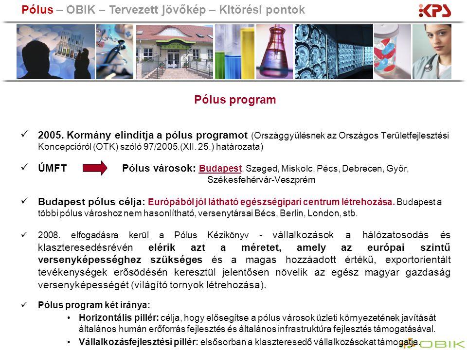 2005. Kormány elindítja a pólus programot (Országgyűlésnek az Országos Területfejlesztési Koncepcióról (OTK) szóló 97/2005.(XII. 25.) határozata) ÚMFT