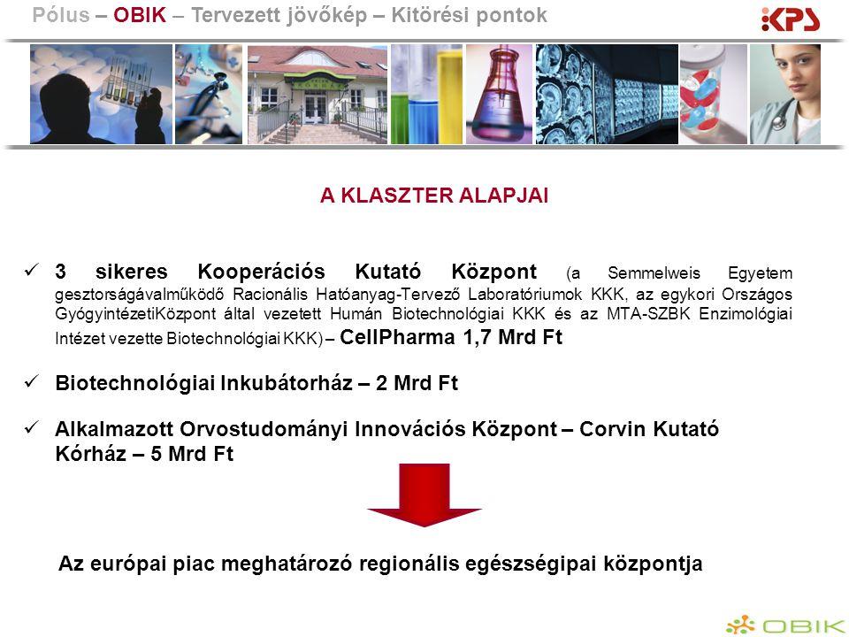 3 sikeres Kooperációs Kutató Központ (a Semmelweis Egyetem gesztorságávalműködő Racionális Hatóanyag-Tervező Laboratóriumok KKK, az egykori Országos G